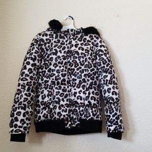 Justice girls leopard jacket size  16